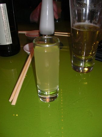 Morimoto: 5th Omakase course.  Palate cleanser of nonalcoholic citrus soda