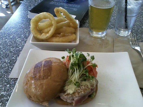 Umami Burger :                   Ahi burger, onion rings, and beer.