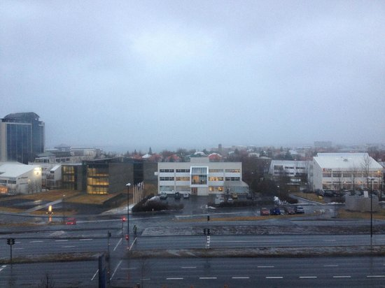 Hilton Reykjavik Nordica:                   View from hotel with fog in Reykjavik