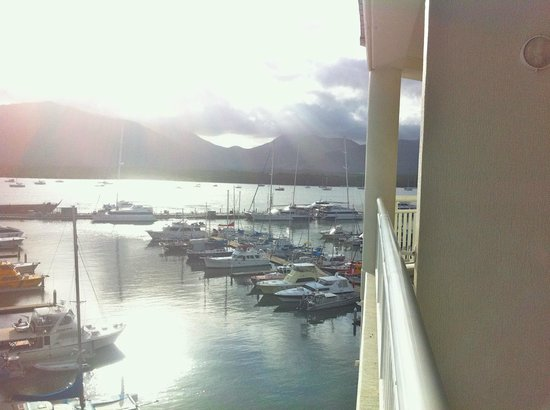 Shangri-La Hotel, The Marina, Cairns: view to the south from bedroom verandah level 4 one bed king suite