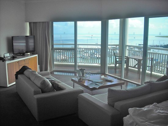 Shangri-La Hotel, The Marina, Cairns: view from lounge area one bedroom king suite level 4