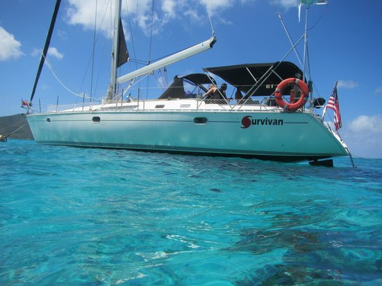 St. John Yacht Charters Survivan:                   At Henley Cay.  Great water, great boat, great trip.