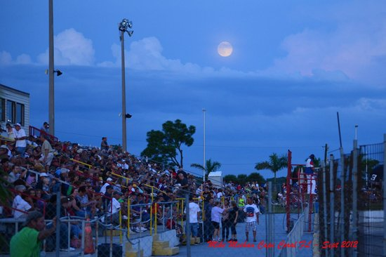 Punta Gorda Speedway: Enjoying a race under a full moon.
