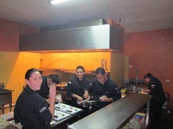 El Violli:                   The busy cook staff.