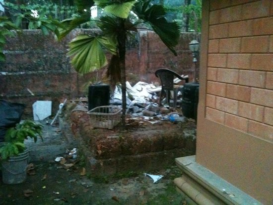Pagoda Resorts Alleppey: the rubbish dump outside cottage 201