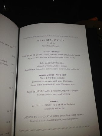Menu Degustation Picture Of Le Jules Verne Paris