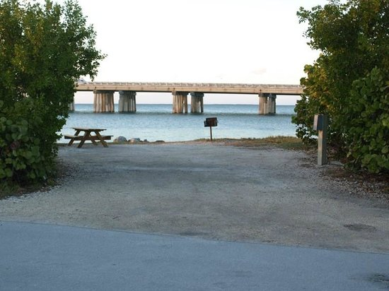 Bahia Honda State Park Campgrounds: View of Route 1 Bridge from oceanfront campsite
