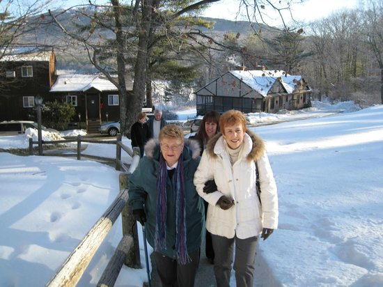 The Inn at East Hill Farm:                   Walking up to another delicious meal...check out the view behind us!