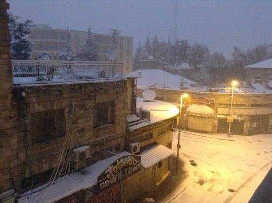 National Hotel Jerusalem:                                     A rare snow in Jerusalem