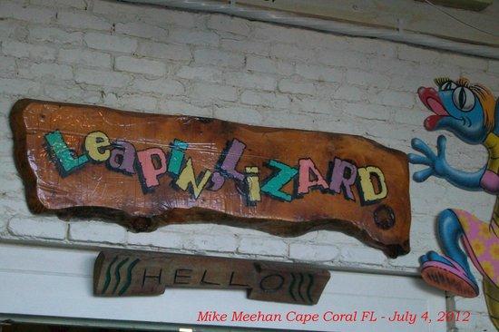 Leapin Lizards: Sign over door.