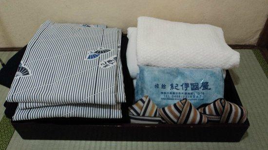 Kinokuniya Ryokan :                                     Room amenities (yukata/ towels)