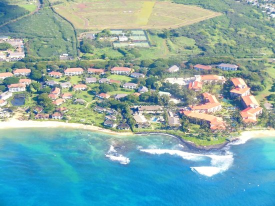 Koa Kea Hotel & Resort:                   Koa Kea from the air. Just to the left of the red roofed Marriott