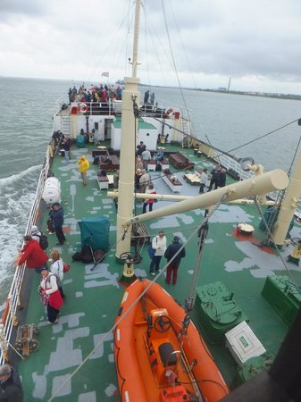 Steamship Shieldhall: Main deck onboard (which by the way was all green the next time I went onboard!)