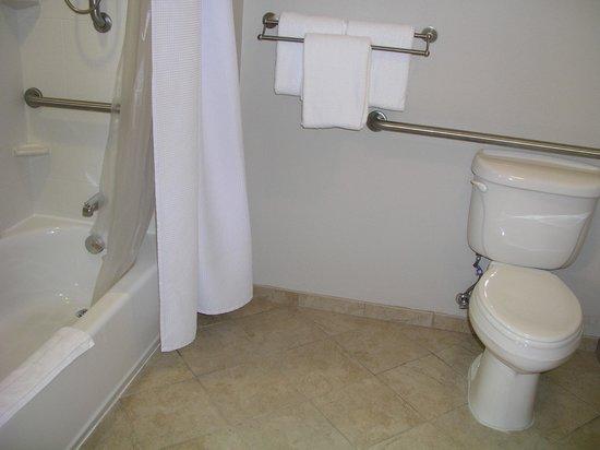 "حياة هاوس رالي دورهام إيربورت: handicap (""assessable"") bathoom has bigger bath floor area near toilet"