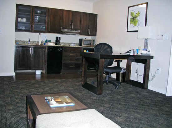 "HYATT house Raleigh Durham Airport : handicap (""assessable"") great room has small undercounter refrigerator"