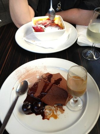 Powerhouse Cafe:                   Dessert - chocolate terrine in foreground and raspberry creme brûlée in backgr