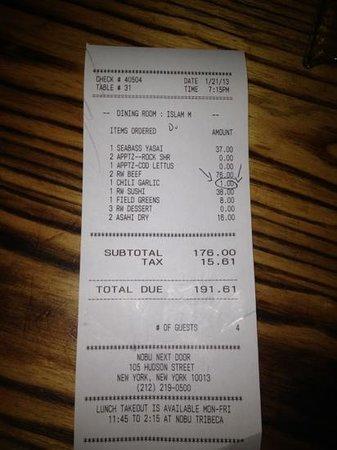 Nobu:                   $1 for chili sauce