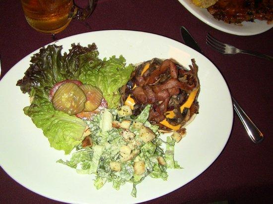 The No Name Bar & Grill: No Name Burger with Caesar Salad
