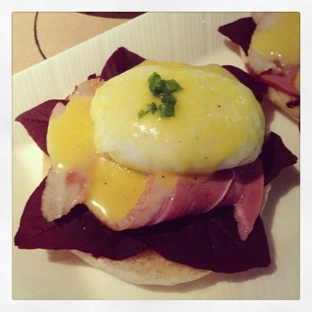 L Hotel Seminyak:                   Eggs a la putu - eggs benedict with smoked duck and red spinach. highly recomm