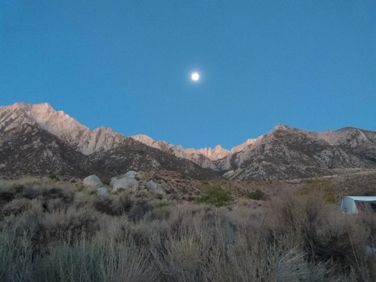 Lone Pine Campground: Pre-dawn view of Mt. Whitney from my campsite.