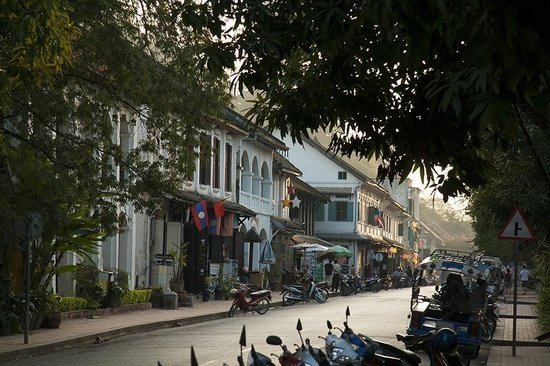 Hotel 3 Nagas Luang Prabang MGallery by Sofitel:                   The main street of Luang Prabang, taken in front of 3 Nagas, looking up the st