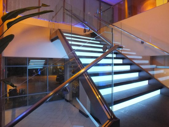 Moonrise Hotel:                   stairs in reception area