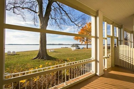 Sandaway Waterfront Lodging Suites and Beach: View from the private porch of a Waterfront Queen room in Sandaway Lodge.