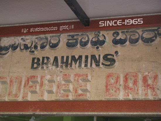 Brahmin's Coffee Bar: the name sign since 1969, synonymous with fluffy idlies
