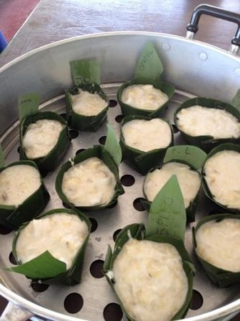 Phuket Thai Cookery School:                   Steamed banana puddings, delish!!!!