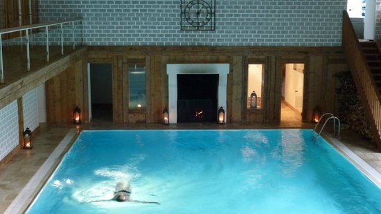 Meister's Hotel Irma:                   IndoorPool and fireplace