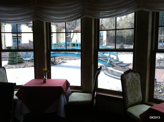Mirbeau Inn & Spa Skaneateles:                   Looking out at garden area in January