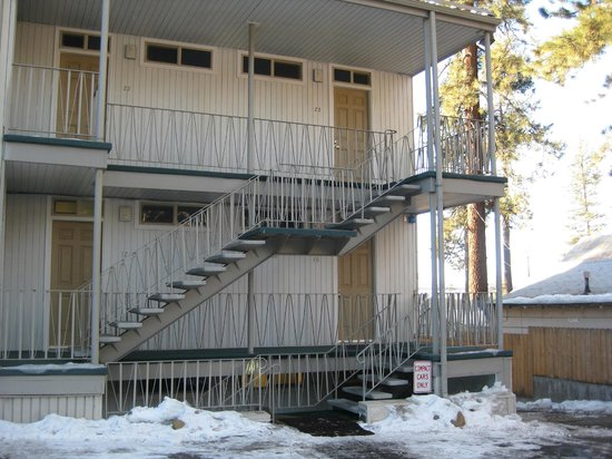 Firelite Lodge:                   Back of hotel with room entrances
