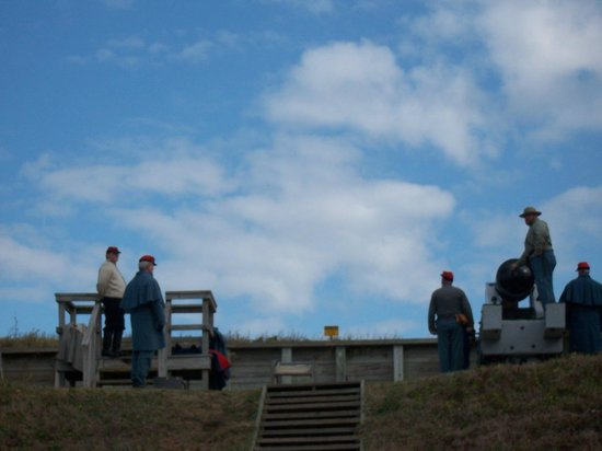 Fort Fisher State Historic Site:                   Large cannon firing
