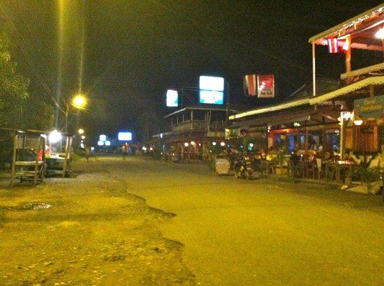 Playa Negra Guesthouse:                   Downtown Cahuita at night.