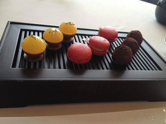 Caprice (Central): Complimentary dessert.  The strawberry macaroons are very delicious