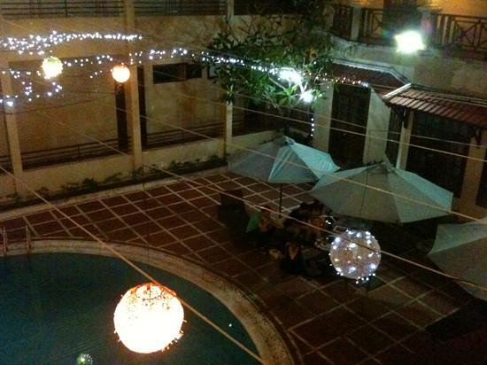 EMM Hotel: view over pool area from large shared balcony
