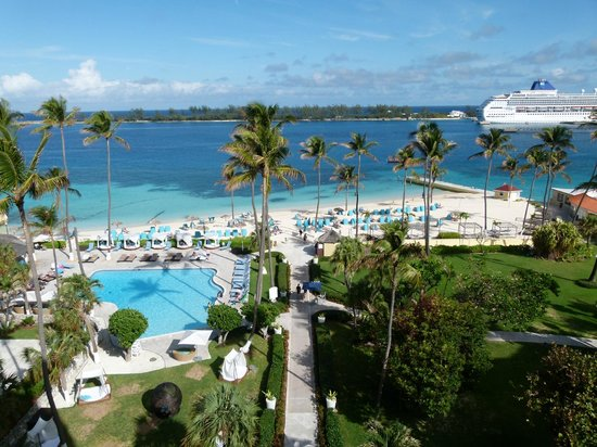 British Colonial Hilton Nassau:                   View of hotel beach, gardens and pool from the Executive Floor