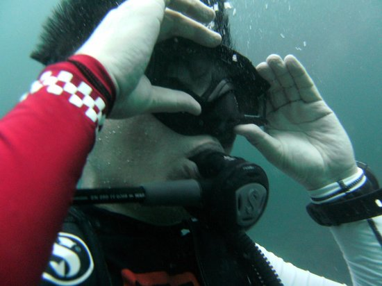 """Super Divers:                   """"Mask Off"""" in waters skills test."""