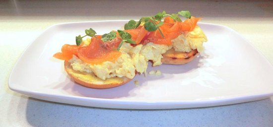 Mustard Coffee House: Twisted Eggs Benedict- scrambled eggs and smoked salmon sat on a toasted bagel