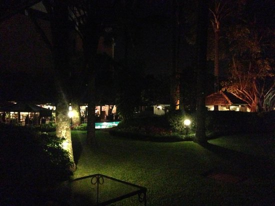 Southern Sun Mayfair Nairobi:                   View from my room onto the courtyard at night