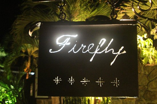 Firefly Mustique Hotel:                   Firefly at night