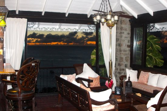 Firefly Mustique Hotel:                   Firefly lounge/dining at sunset