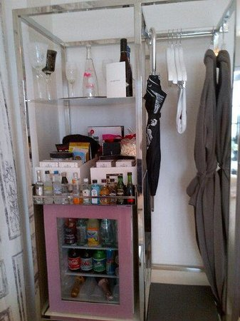 SLS South Beach:                   pink minibar. Ask to clear out to use as closet