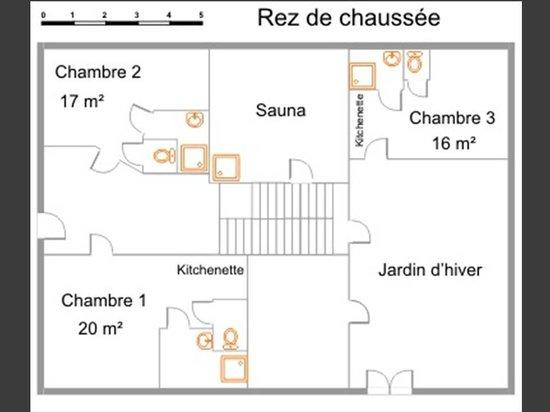 Luxhof chambres d'Hotes : plan du RdC et de votre lieu de séjour