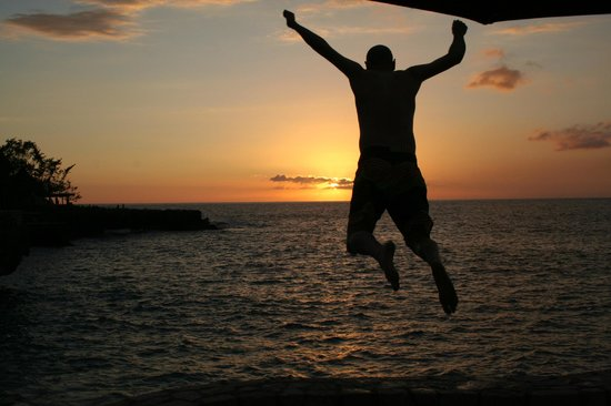 Rockhouse Hotel:                   Sunset jumping