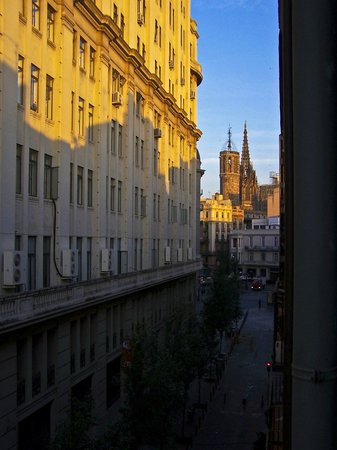 View of Barcelona Cathedral at dawn from room in Hotel Banys Orientals, Barcelona Spain