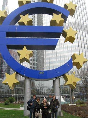 Frankfurt on Foot Walking Tours:                   Underneath the largest Euro in Europe, Frankfurt, Germany