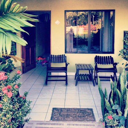 Hotel La Pradera:                   Our little porch outside our bungalow