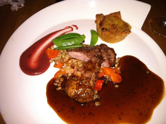 Restaurant Lindin Bistro Cafe:                   Lamb Filée with Icelandic Barley, Vegetables and Pepper Sauce