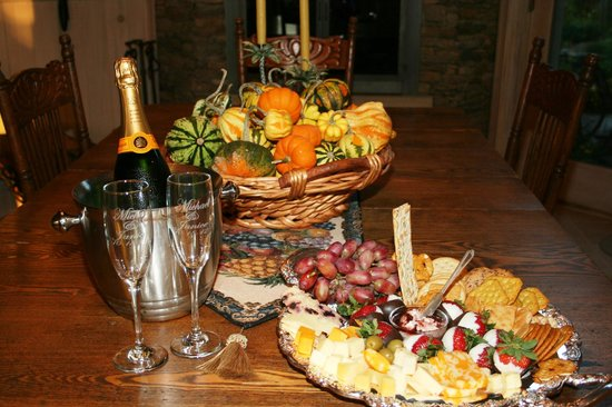 Gracehill Bed & Breakfast:                   Appetizer tray and personalized champagne glasses